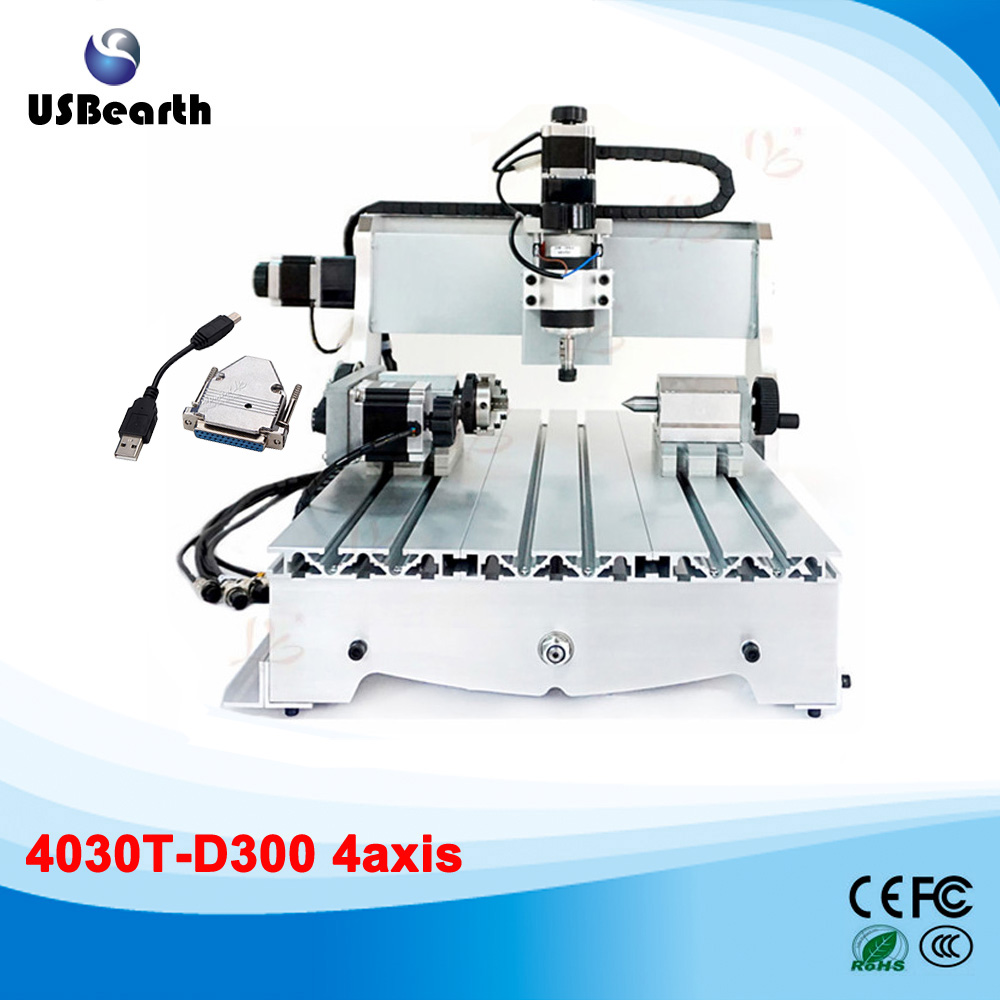 3040T-D300 4axis mini cnc engraving machine with External USB adapter 300W spindle motor no tax to russia cnc lathe 3040 t d300 4axis cnc carving machine cnc engraving machine with external usb adapter