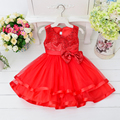 Retail 2017 New Style Children Girl Flower Princess Wedding Dress Girl Sequin Tulle Dresses Girls Party Dress With Bow L9000