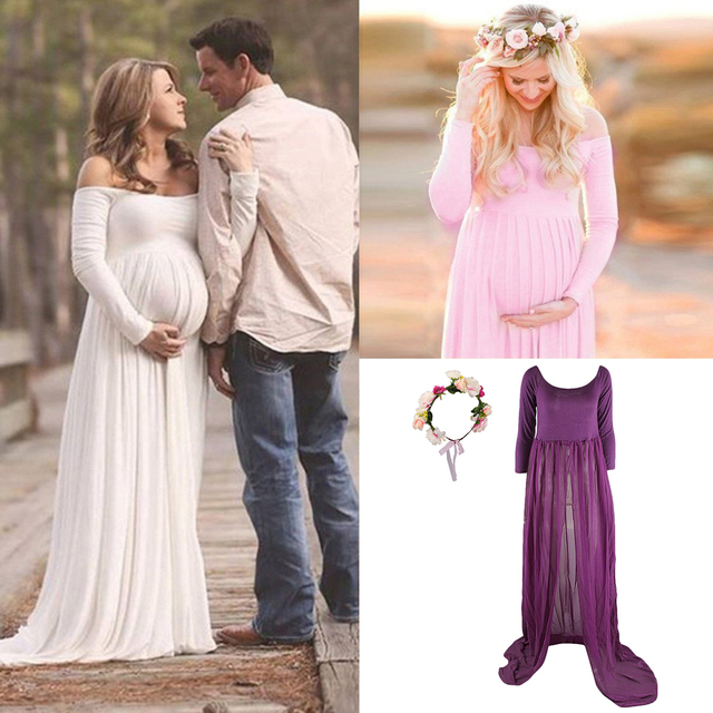 bf9382aa7fc64 Sexy Pregnant Women Maternity Dress Gown Photo Prop Photoshoot + Flower  Headband