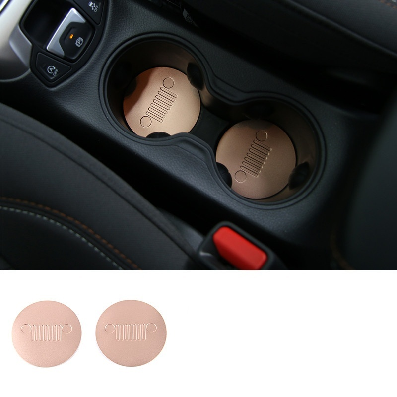 Image 2 - 2pcs Front Cup Water Holder Buttom Cover Trim Alloy Cup Pad For Jeep Compass 2017-in Car Anti-dirty Pad from Automobiles & Motorcycles