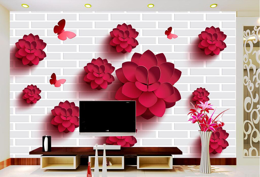 Custom 3d three-dimensional red flowers, brick mural pattern wallpaper,living room sofa TV wall bedroom 3d wall murals wallpaper free shipping custom murals worn coloured wood wall mural bedroom living room tv backdrop wallpaper