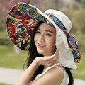 Sombreros de Moda Sombreros para el Sol Para Las Mujeres de las mujeres de Ala Ancha Floppy Sombrero de Playa Femenino Plegable Sombrero para el Sol para La Muchacha Y18