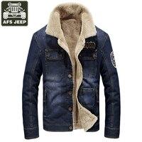 AFS JEEP Brand Winter Jacket Men Jeans Coats Denim Jackets Thick Warm Fleece Windbreaker Fur Collar