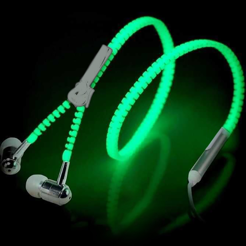 Luminous Light Zipper Headphones Earphone Earbuds Glow In The Dark Headset For Iphone Sony Xiaomi mi8 MP3 With Mic