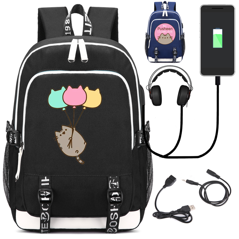 Pusheen Cat Backpack with USB Charging Port and Lock &Headphone interface for College Student Work