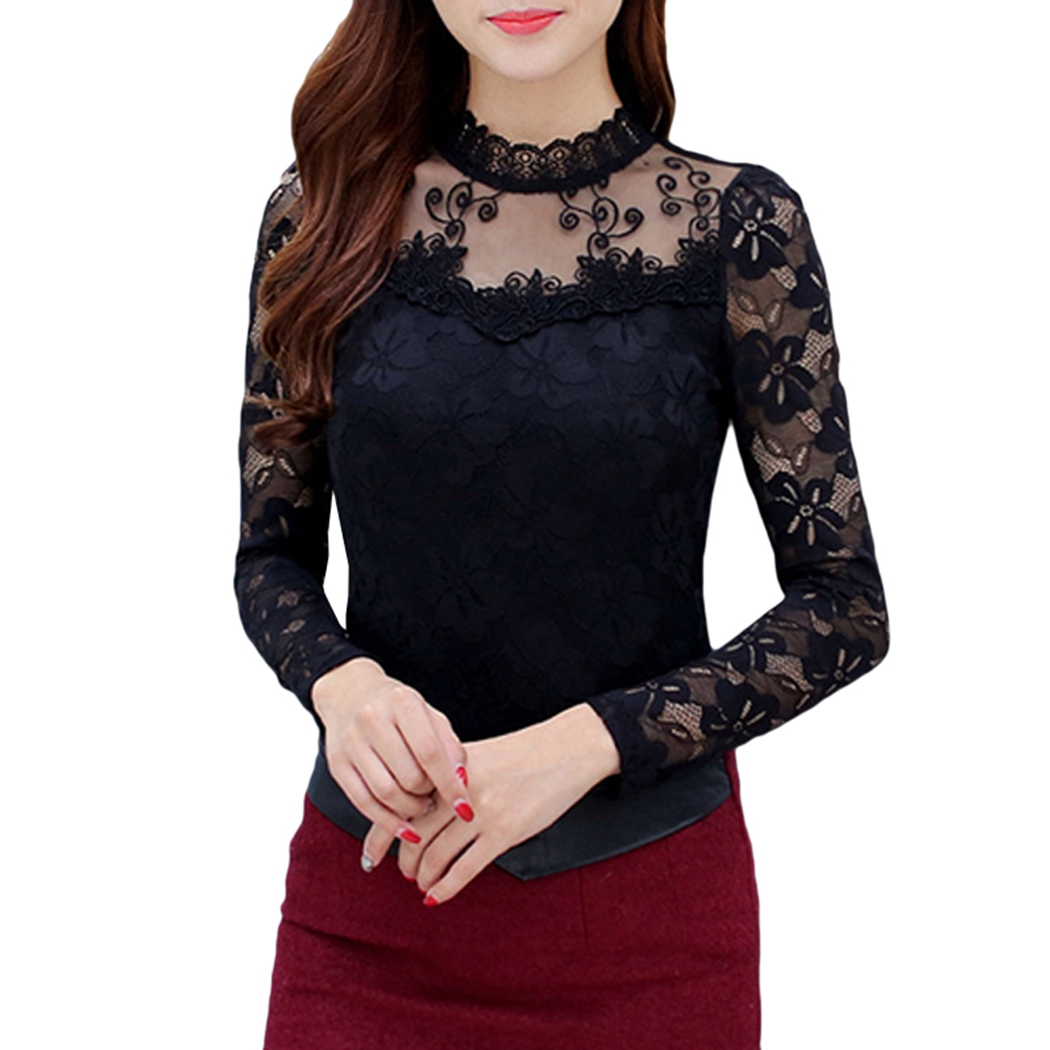 Vrouwen Kant Blusas Nueva purple Casual Black Llegada Slim 2018 Lente Sexy white Modo O Mouw Lange Camisa Tops Herfst hals PtqfWWnFS