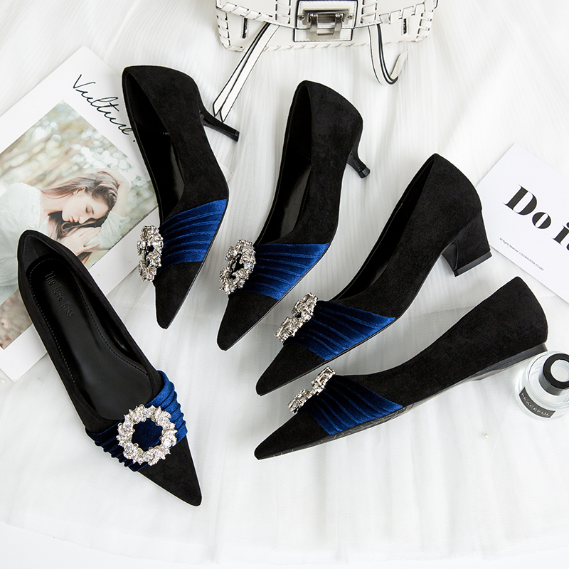 Kmeioo Elegant Shoes Woman Wedding Pumps Jewel High Heels Point Toe Stiletto Crystal Buckle Sandals Dress Evening Women S
