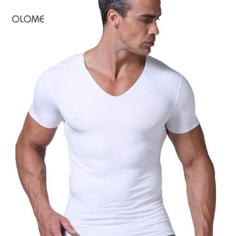 Men's T-Shirt Seamless Thin And No V-Neck Tee No-Seaming Light-Standard Summer New-Brand