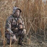 الرجال الشتاء رشاقته الملابس الدافئة للماء الصيد 3d التمويه قناص موقع قراء البدلة 5 قطع سترة + بنطلون + + قفازات + وشاح