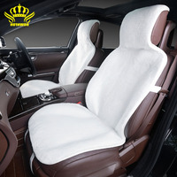 2Piece Free Shipping Sheepskin Car Seat Covers Black Patchwork Skin Not Cap Faux Fur