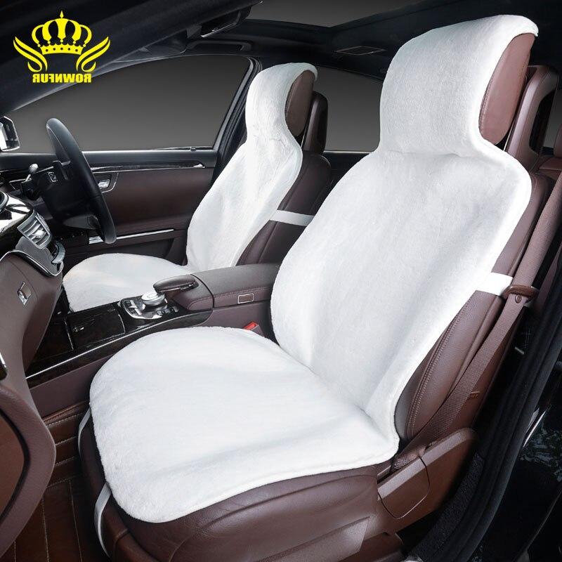 2015For 2 Frente tampas de assento do carro acessórios interiores do carro capa de almofada estilo da pele do falso bonito novo inverno almofada carro de pelúcia tampa de assento