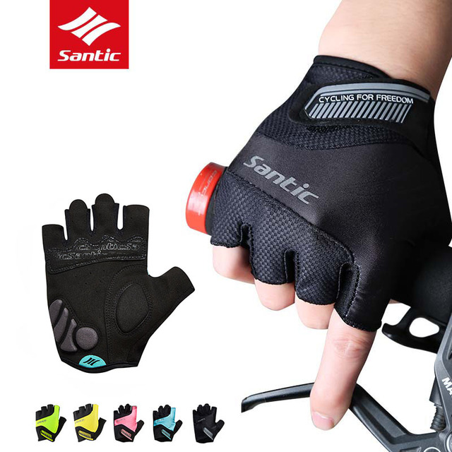 Santic MTB Cycling Gloves Half Finger Road Bike Gloves Men Women Sport Breathable Anti-shock Bicycle Gloves Guantes Ciclismo