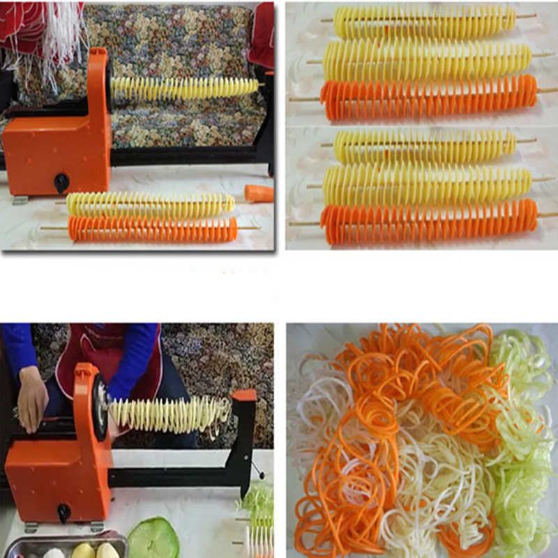 Automatic electric twister tornado potato spiral curly cutter slicer machine