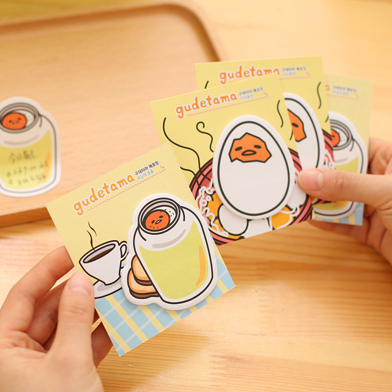 20pcs/lot Cute Kawaii Cartoon Eggshell Glass Gudetama Egg Men Memo Pad Sticky Paper Notepad Sticker Gift For Kid Stationery