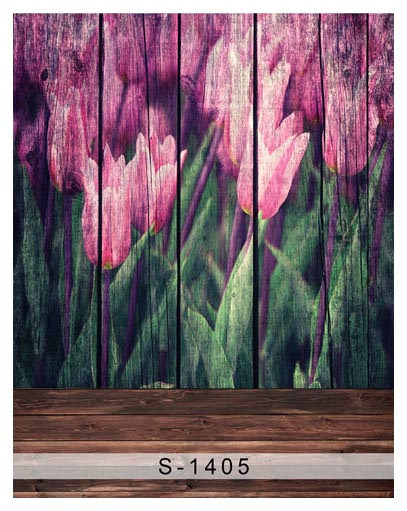 Wooden Board Tulip Paintings Vinyl Cloth 5X7ft Wedding Children Newborn Photography Backgrounds Photo Studio Decor Backdrops