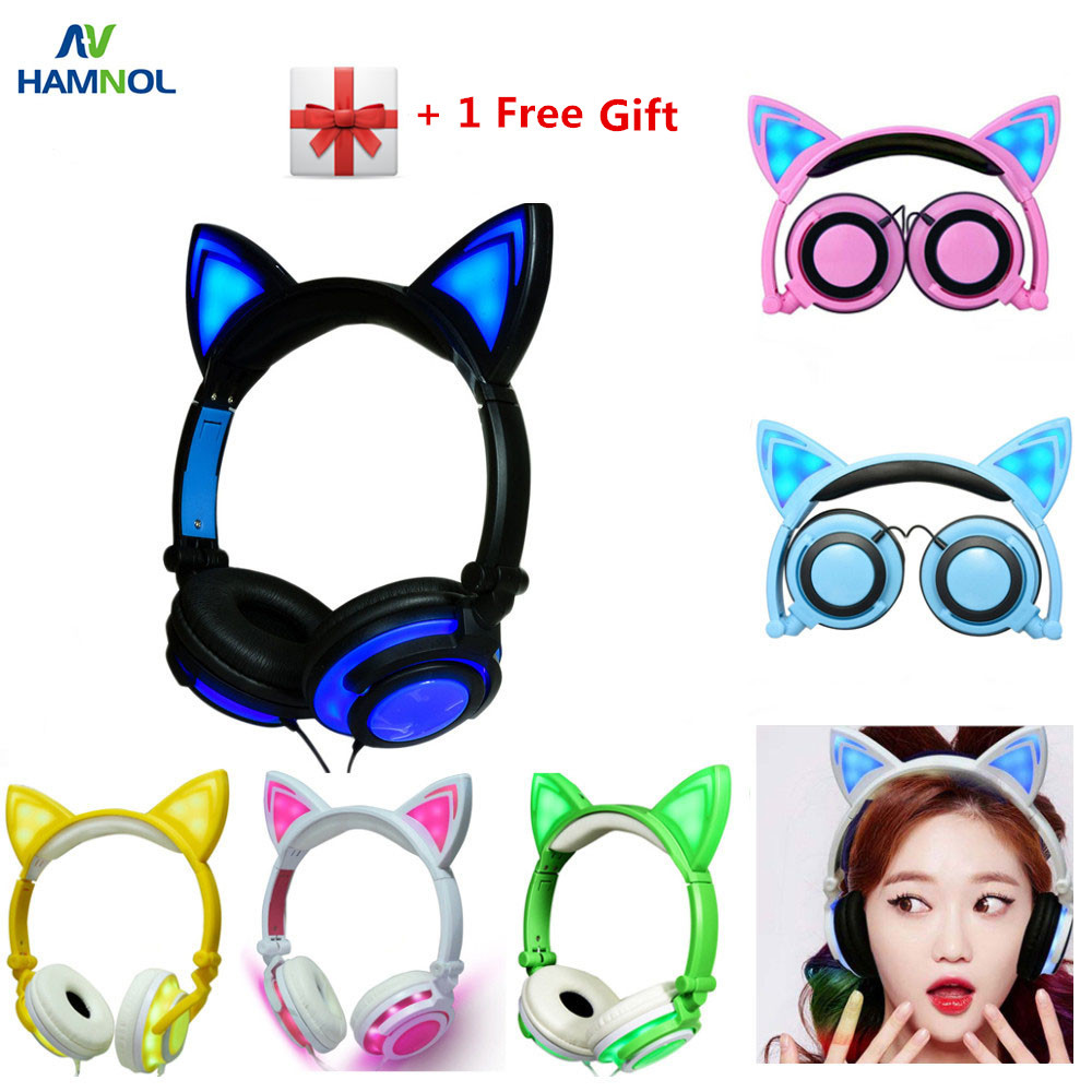 HAMNOL Cat Ear headphones with LED Flashing Glowing Light Headset Gaming Earphones for PC Computer and Mobile Phone magift sound effect gaming headset stereo headphones with mic for computer pc laptop gamer with led light over ear glowing