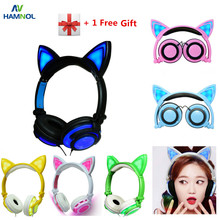 HAMNOL Cat Ear headphones with LED Flashing Glowing Light Headset Gaming Earphones for PC Computer and