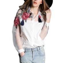 2017 Summer Fashion Women Applique Blouses Flower Embroidery Vintage Shirts Sheerness Organza Sleeve Tops Plus Size S-3XL Blusas(China)