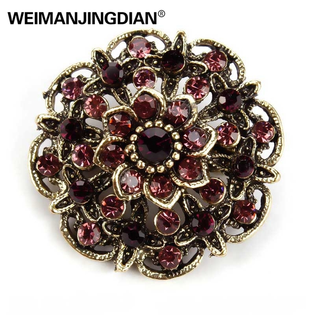 3pcs / pack WEIMANJINGDIAN Brand Vintage Gold Color Plated Crystal Rhinestones Flower Antique Brooch Pins for Women in Assorted