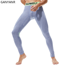 GANYANR Running Tights Men Basketball Sports Fitness Legging Compression Pants Gym Athletic Bodybuilding Jogging Winter Pouch