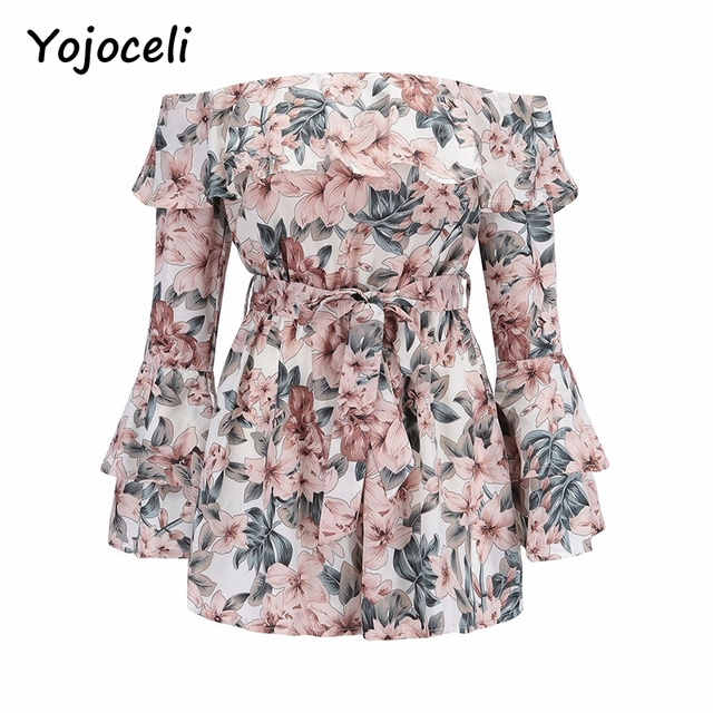 Yojoceli 2018 summer off shoulder floral print jumpsuit romper women flare sleeve bow beach playsuits 4