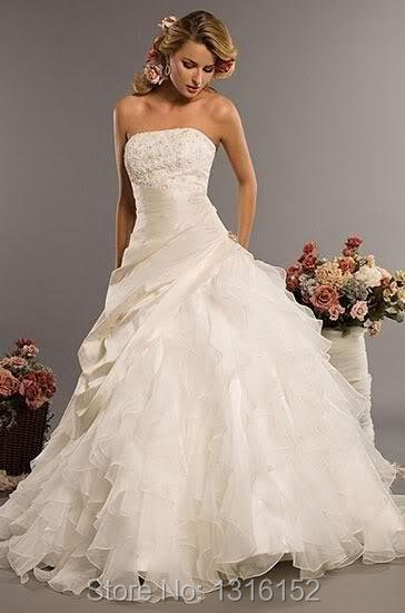Wedding Dresses falbala adornment inventory with low waist line ...