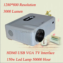 Portable !! 2 Speakers Build-in 1280*800 Resolution Full hd 200 Inches Big Screen With hdmi usb vga tv Interface Micro Projector