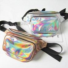 Hip Belt Pouch Waterproof Laser Fanny Pack Women Unisex Waist Belt Bag PU Hologram Chest Pack Money Belts Travel Cashier Pouch