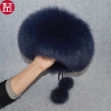 2019 Luxury Winter 100 Natural Real Fox Fur Hat Women Outdoor Quality Real Fox Fur Bomber Hats Girl Real Genuine Fox Fur Cap cheap YH031813 Solid Adult 100 genuine real fox fur Adjustable suitable for everyone