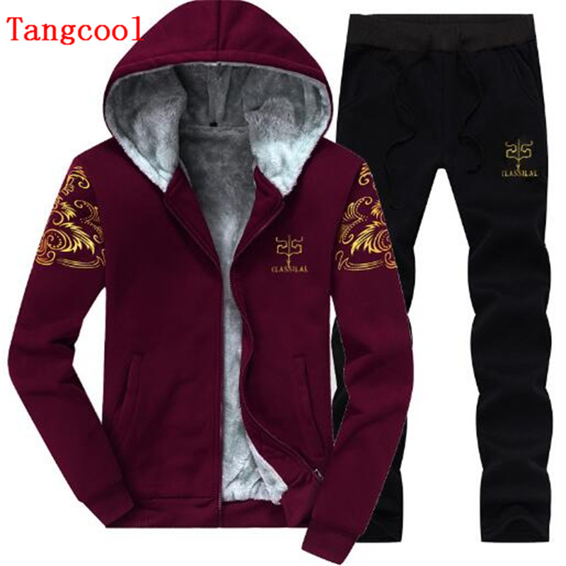 2018 winter new track and field wind plus velvet thickened Hoodie + trousers leisure casual young students 2 pieces