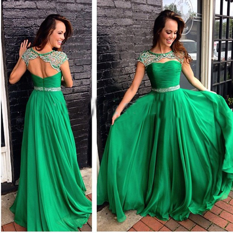 Bottle Green Beaded   Prom     Dresses   Beautiful Cap Sleeves Open Back Long Chiffon Formal Evening Party Gowns Hot Sale