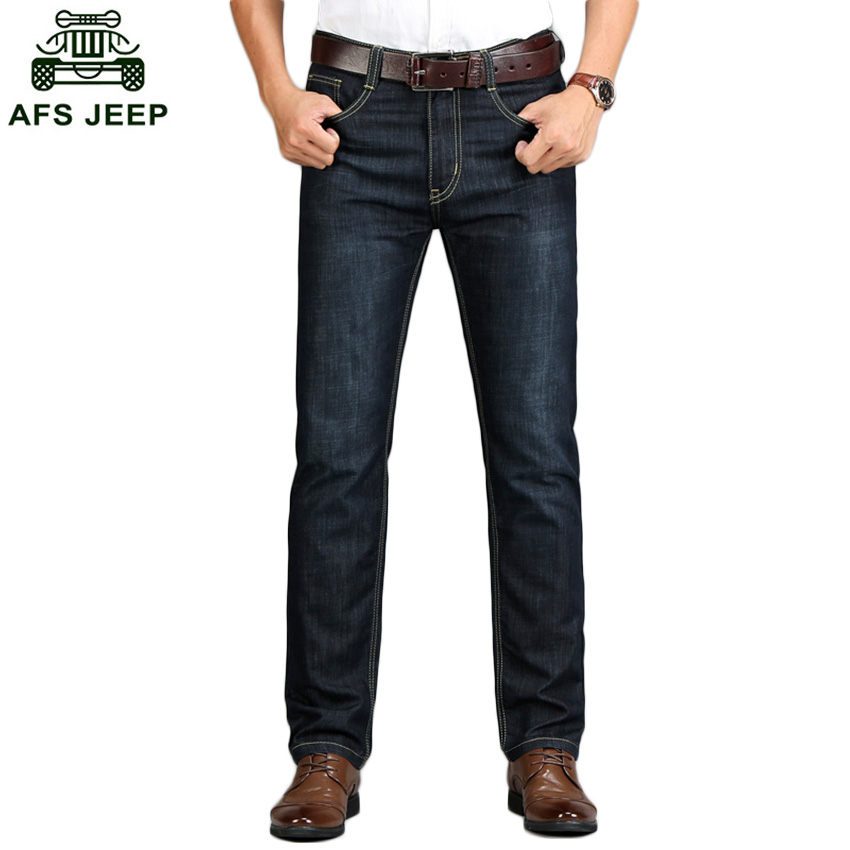 2017 Autumn Men Outwear Jeans Business Casual Pants Straight Big Size Jeans Male Cusual AFS JEEP Brand Jeans D63 autumn new arrival 2017 jeans pants afs jeep elastic mens straight men black mid risef slim fit men s casual fashion men s jeans