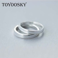 100 Real 925 Pure Silver Classic Simple Plain Design Lovers Rings For Man Woman Couples Wedding