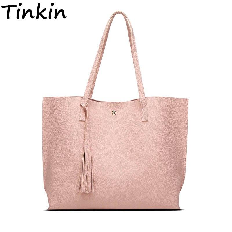 Tinkin New Arrival Women Handbag Large Size Shoulder Bag Candy Color Tassel Bags Daily Shopping Bag inc new polished coral pink women s size large l keyhole tassel blouse $39 010