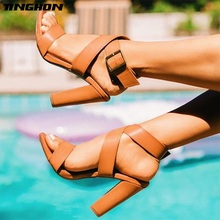 TINGHON  Sexy Summer Sandals Ankle Strap Buckle Square High-Heel 11.5cm Open-Toe Party Size 35-40