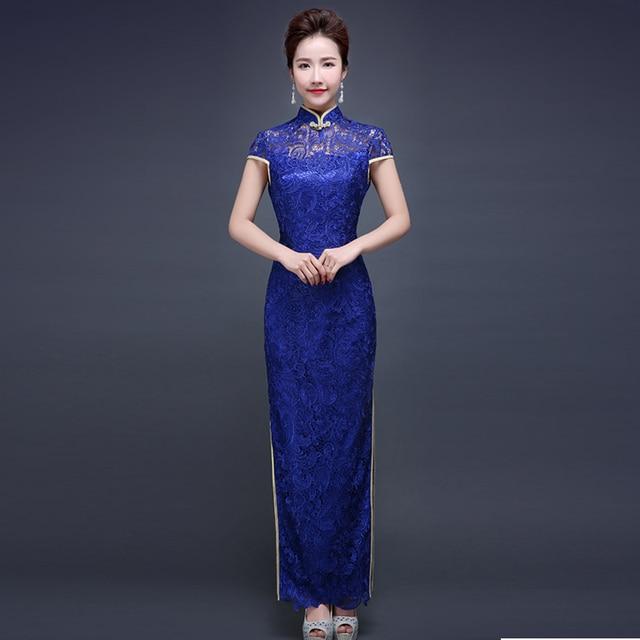 Fashion Royal Blue Spitze Cheongsam Abendkleid China Lange Qipao