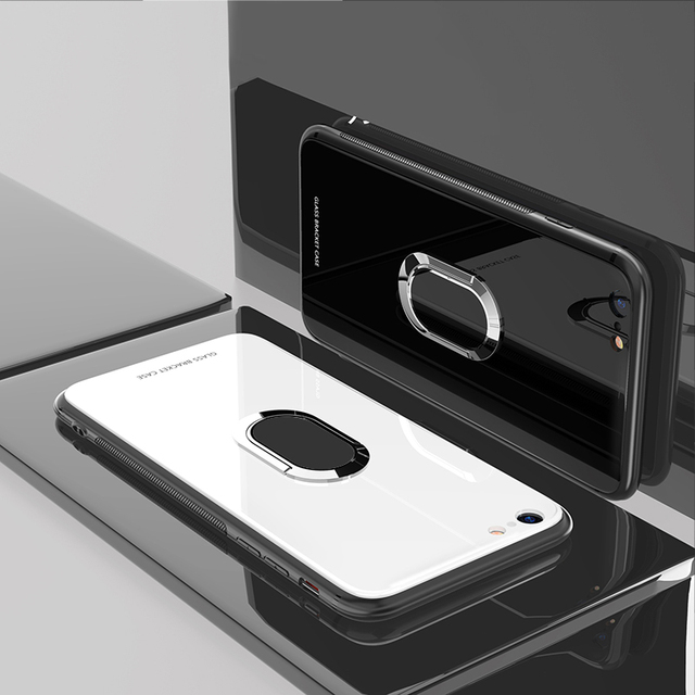 IIOZO Tempered Glass Case for iPhone 7 8 6 6S Plus X XR XS MAX Magnetic Suction Car Ring Holder Stand Cover for iphone 7 8 plus