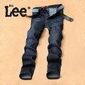 SULEE Calça Jeans Masculino Magro Reta Calças de Brim dos homens de Alta Qualidade Homens Casual Lavado Calças Jeans Escuro Tamanho 28 ~ 38 40 7283A