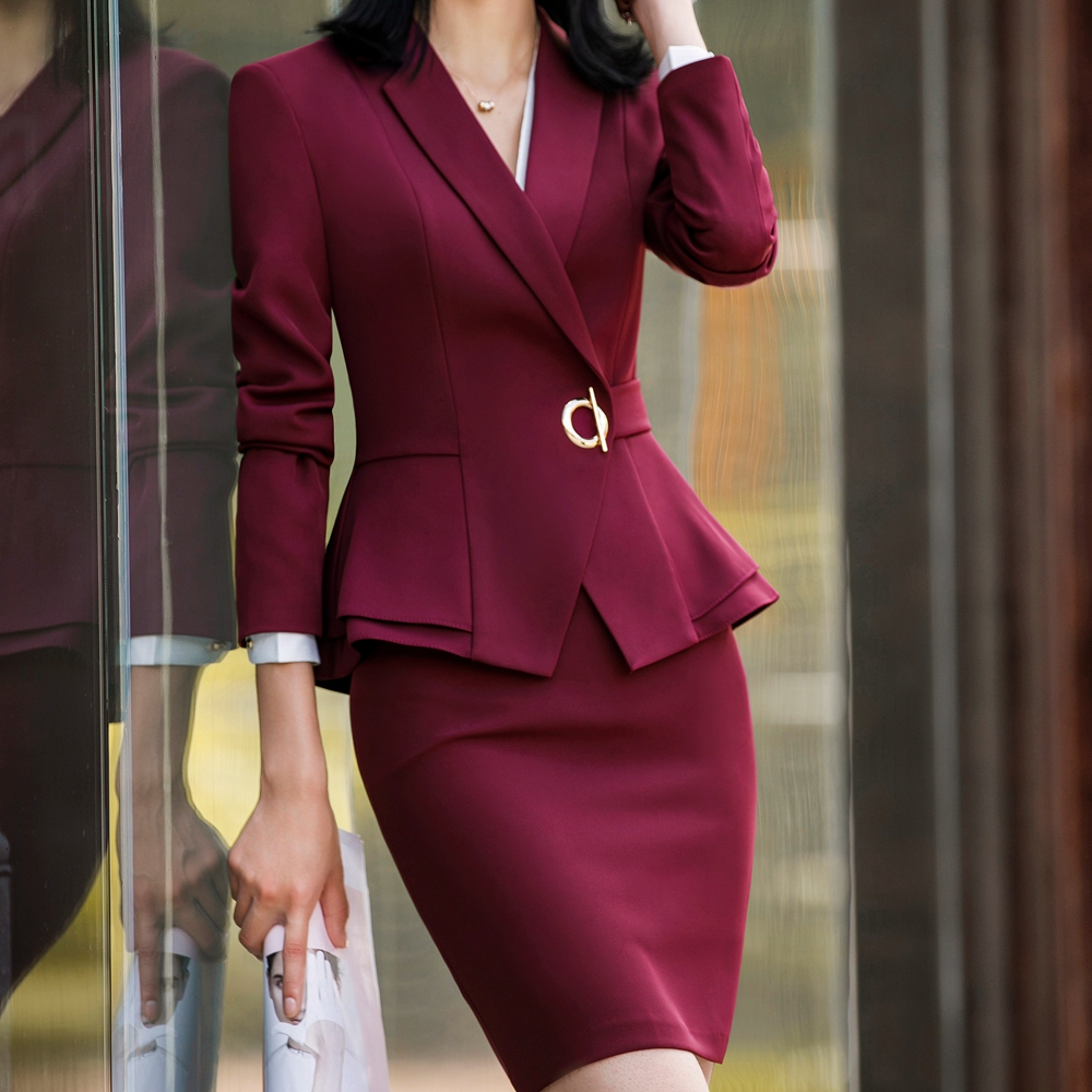 Elegant Women Suit Skirt Office Lady Formal Ruffle Waist Full Sleeve Blazer+Skirt Tights 2 Piece Set Jacket And Skirt Suit