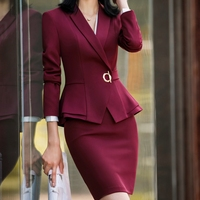 Fmasuth Elegant Women Suit Skirt Office Lady Formal Ruffle Waist Jacket+Skirt 2 Pcs Set Jacket Skirt Suit 111YJE1882CS01