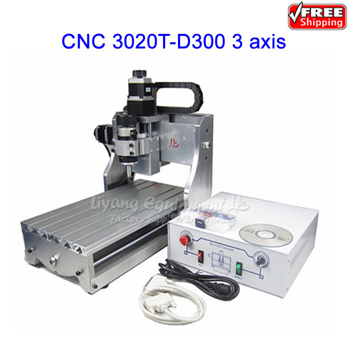 free ship! mini desktop router cnc drilling milling cuttting machine CNC 3020T-D300  and 300W spindle cnc 3020 mini desktop engraving machine 2030 drilling