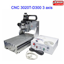 free ship! mini desktop router cnc drilling milling cuttting machine CNC 3020T-D300  and 300W spindle