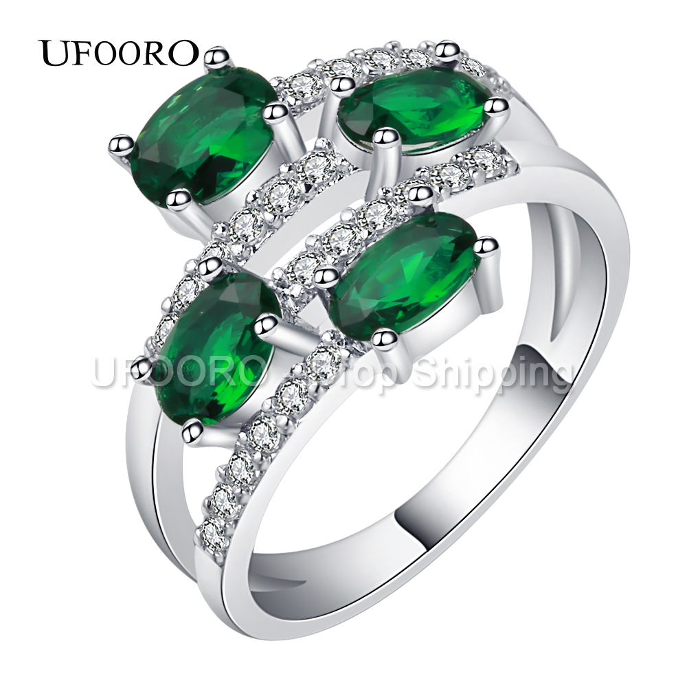 UFOORO Wholesale Hot Engagement ring Fashion Green 4 CZ stone Silver color Ring Size 6 7 8 9 10 Oval Cut Jewelry For Women