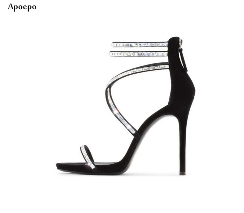 Apopeo 2018 Newest Cross-strap High Heel Sandal for Woman Crystal Embellished Thin Heels Shoes Sexy Open Toe Gladiator Sandal цена