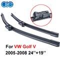 Oge par limpa lâminas para vw golf 5 (v) 2005 2006 2007 2008, se encaixam pára silicone limpadores de borracha braço, acessórios do carro