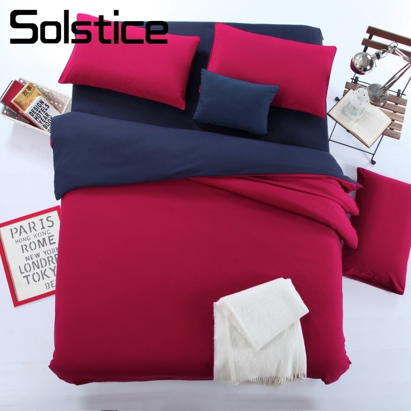 Solstice Home Textile Solid Color Red Navy Blue Bedding Set Teen Adult Girl Bed Linen Twin Duvet Cover Pillowcase Bed Flat Sheet