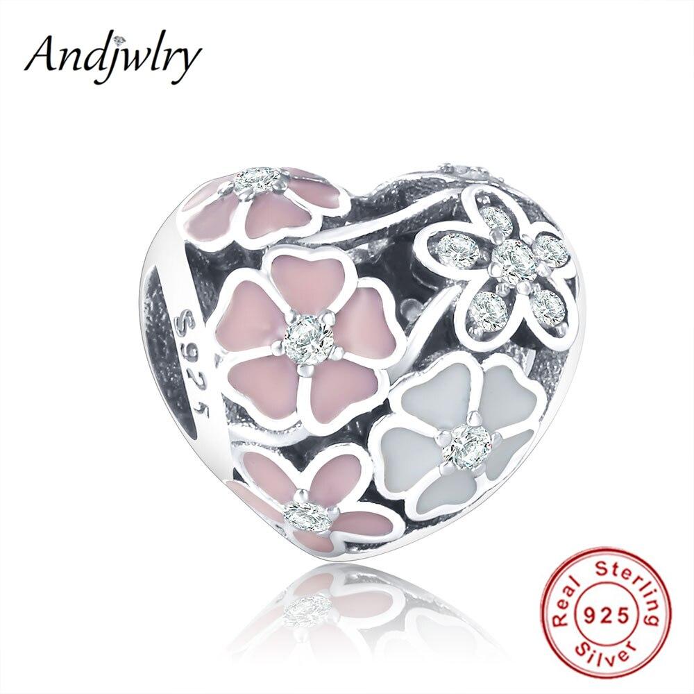 Fit Подвески Пандора оригинальный браслет серебро 925 оригинальные бусы с эмалированными цветами поэтического цветет очаровывает шарики для ювелирных изделий Berloque