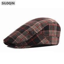 SILOQIN Mens Hat Cotton Beret For Men Women British Fashion Plaid Womens Duck Tongue Cap Adjustable Head Size Couple Caps