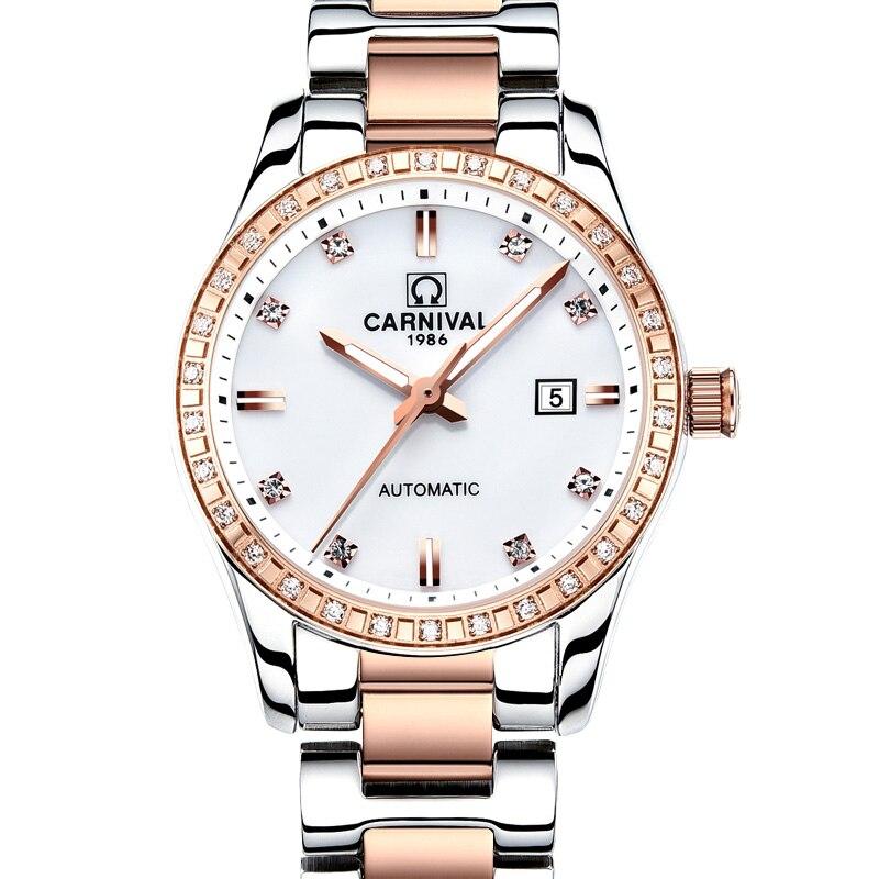 Montre femme 2018 karnawał automatyczny zegarek kobiet kalendarz moda kobiety zegarki świetlne wodoodporne Sapphire Relogio feminino w Zegarki damskie od Zegarki na  Grupa 1