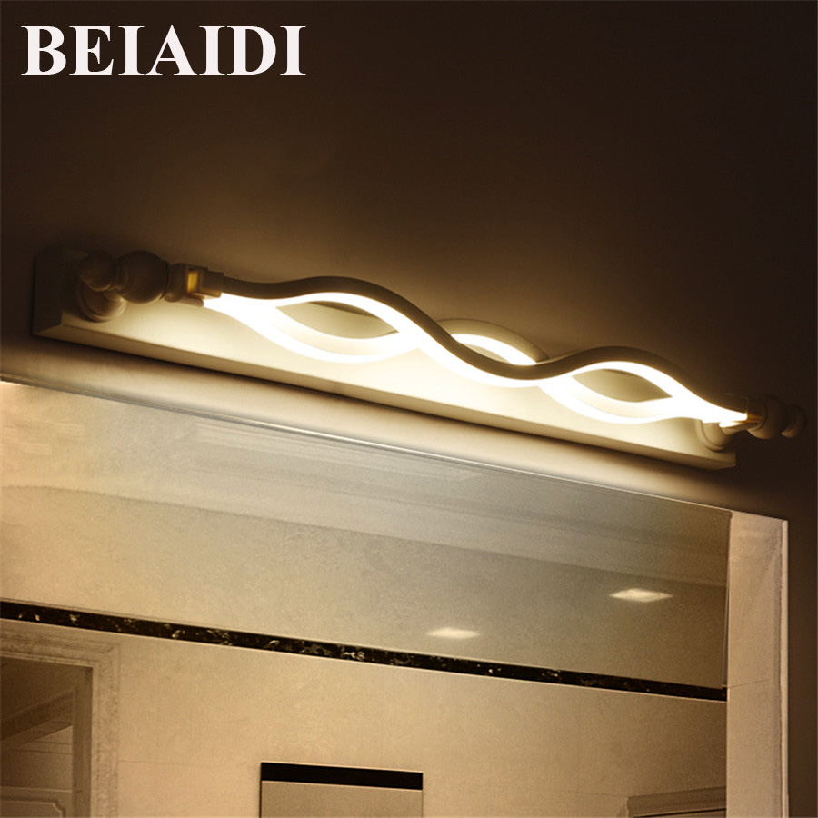 BEIAIDI 14W Modern Acrylic Bathroom Mirror Light LED Bathroom Bedroom Dressing Room Mounted Lamp Anti-fog Make-up Mirror Light ark light 40cm bow tie 14w acrylic wall lamp bathroom led mirror lamp bathroom aisle living room waterproof anti fog ac 80 265v